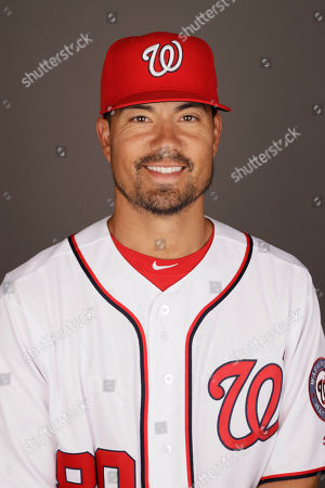 Washington Nationals' Jeremy Guthrie poses for a photograph before a spring training baseball workout, in West Palm Beach, Fla