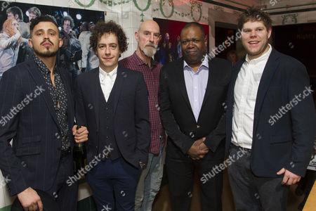 Stock Photo of Aaron Heffernan (Francis Flute), Matthew Steer (Peter Quince), Sam Cox (Robin Starveling), Geoff Aymer (Tom Snout) and Douggie McMeekin (Snug)