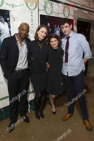 Oliver Alvin-Wilson (Demetrius), Anna Madeley (Helena), Jemima Rooper (Hermia) and John Dagleish (Lysander)
