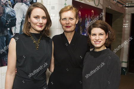Stock Image of Anna Madeley (Helena), Anastasia Hille (Titania) and Jemima Rooper (Hermia)