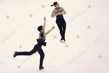 Kim Su-yeon, Kim Hyung-tae Kim Su-yeon and Kim Hyung-tae of South Korea perform in the Pairs Short program of Figure Skating competition at Makomanai Indoor Skating Rink at the Asian Winter Games in Sapporo, northern Japan