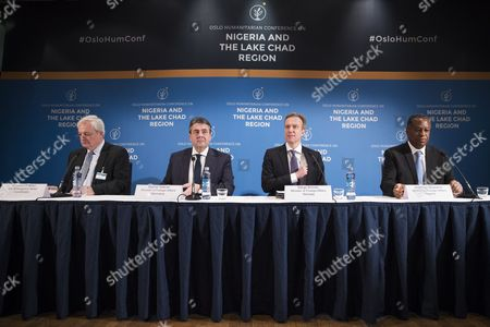 (L-R) UN Emergency Relief Coordinator Stephen O'Brien, German Minister of Foreign Affairs Sigmar Gabriel, Norway Minister of Foreign Affairs Borge Brende and Nigerian Minister of Foreign Affairs Geoffrey Onyeama attend a press conference during the Humanitarian Conference for Nigeria and Lake Chad region in Oslo, Norway, 24 February 2017.