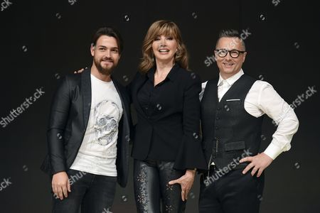 Stock Picture of Valerio Scanu, the conductor Milly Carlucci and Paolo Belli