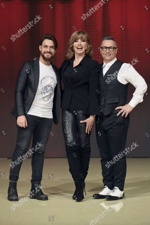 Valerio Scanu, the conductor Milly Carlucci and Paolo Belli