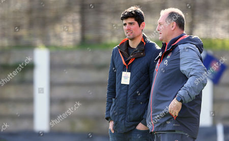 Ex England Cricket Captain Alastair Cook chats with Richard Hill as he visits England Rugby Union 6 Nations Training
