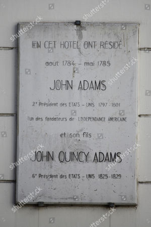 Stock Photo of Home of two Presidents, John Adams and John Quincy Adams lived here in 1784 and 1785 at 45 rue d' Auteuil, 16th arr. - Paris France - shot AUGUST 2015