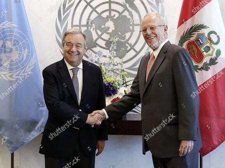 Stock Image of United Nations Secretary-General Antonio Guterres (L) shakes hands with Peruvian President Pedro Pablo Kuczynski Godard before their meeting at United Nations headquarters in New York, New York, USA, 24 February 2017.