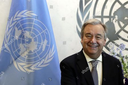 Stock Picture of United Nations Secretary-General Antonio Guterres smiles during his meeting with Peruvian President Pedro Pablo Kuczynski Godard at their meeting at United Nations headquarters in New York, New York, USA, 24 February 2017.