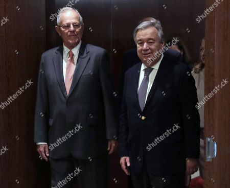 Stock Photo of United Nations Secretary-General Antonio Guterres (R) arrives with Peruvian President Pedro Pablo Kuczynski Godard for their meeting at United Nations headquarters in New York, New York, USA, 24 February 2017.
