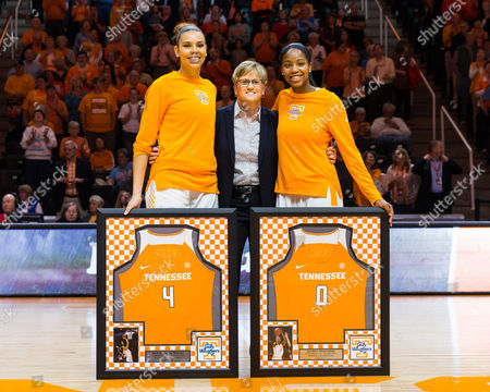 Tennessee Lady Volunteers seniors Schaquilla Nunn #4 and Jordan Reynolds #0 are recognized with head coach Holly Warlick of the Tennessee Lady Volunteers before the NCAA basketball game between the University of Tennessee Lady Volunteers and the University of Florida Gators at Thompson Boling Arena in Knoxville TN Tim Gangloff/CSM