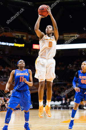 Jordan Reynolds #0 of the Tennessee Lady Volunteers shoots the ball while Dyandria Anderson #11 of the Florida Gators watches during the NCAA basketball game between the University of Tennessee Lady Volunteers and the University of Florida Gators at Thompson Boling Arena in Knoxville TN Tim Gangloff/CSM