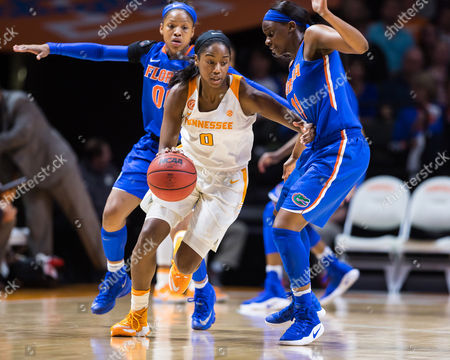 Jordan Reynolds #0 of the Tennessee Lady Volunteers drives to the basket while Dyandria Anderson #11 of the Florida Gators defends during the NCAA basketball game between the University of Tennessee Lady Volunteers and the University of Florida Gators at Thompson Boling Arena in Knoxville TN Tim Gangloff/CSM