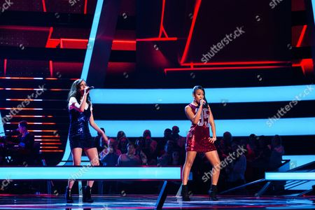Stock Photo of 'The Voice UK' (Ep8) - The Battles: Team Will: Clara Hurtado -v- Shakira. They perform Bad Blood by Taylor Swift.