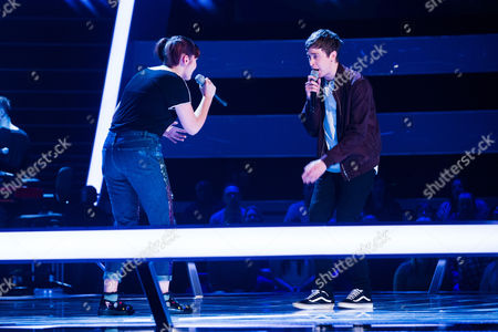 Stock Picture of 'The Voice UK' (Ep8) - The Battles: Team Gavin. Millicent Weaver -v- Max Vickers. They perform My Favourite Game by The Cardigans.