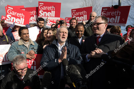 Jeremy Corbyn and Gareth Snell at a victory rally outside the Potteries Museum and Art Gallery in Hanley