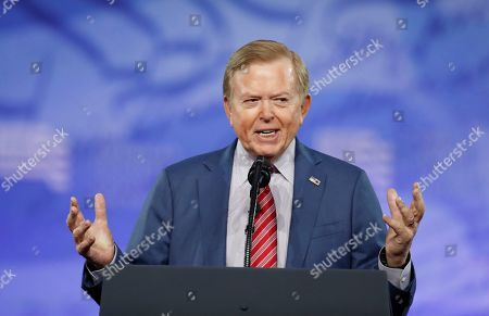 Lou Dobbs, with Fox News, speaks at the Conservative Political Action Conference (CPAC), in Oxon Hill, Md