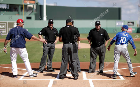 John Farrell, Terry Collins Boston Red Sox manager John Farrell, left, and New York Mets manager Terry Collins, right, return to their dugouts after greeting one another at home plate with game umpires before an exhibition spring training baseball game in Fort Myers, Fla