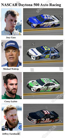 Joey Gase, Michael Waltrip, Corey LaJoie, Jeffrey Earnhardt In these photos taken in February 2017, qualifying drivers and their cars in the starting field for Sunday's NASCAR Daytona 500 auto race are shown at Daytona International Speedway in Daytona Beach, Fla. They are, from top, Row 15, Joey Gase, Michael Waltrip, Row 16, Corey LaJoie and Jeffrey Earnhardt
