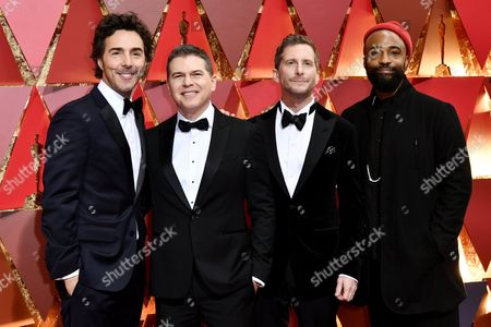 Stock Picture of Shawn Levy, Dan Levine, Aaron Ryder and Bradford Young