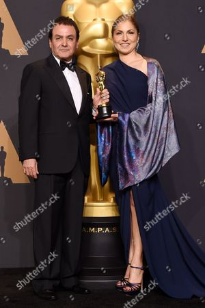 Stock Image of Dr Firouz Naderi and Anousheh Ansari - Foreign Language - 'The Salesman'