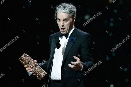 "French actor James Thierree speaks on stage after he received the Best Actor in a Supporting Role award in ""Chocolat"", during the 42nd Cesar Film Awards, at the Salle Pleyel, in Paris, France, . This annual ceremony is presented by the French Academy of Cinema Arts and Techniques"