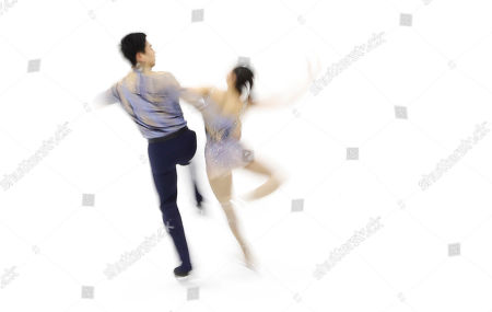 Kim Su-yeon, Kim Hyung-tae Kim Su-yeon and Kim Hyung-tae of South Korea perform in the Pairs Free Skating program of Figure Skating competition at Makomanai Indoor Skating Rink at the Asian Winter Games in Sapporo, northern Japan