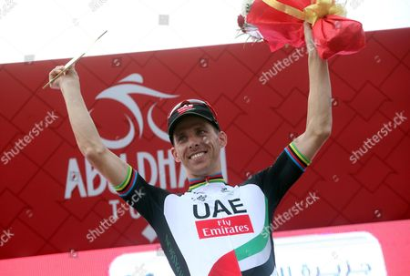 Portuguese rider Rui Costa of the UAE Team Emirates celebrates on the podium after winning third stage of the Abu Dhabi Tour cycling race, 25 February 2017.