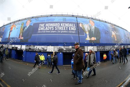 Everton supporters outside the Howard Kendall Gwladys Street End ahead of the Premier League match between Everton and Sunderland played at Goodison Park, Liverpool on 25th February 2017