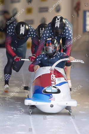 Stock Image of Steven Holcomb, Carlo Valdes, James Reed, Samuel McGuffie of USA in action during the 4-man Bobsleigh world championships  in Koenigsee, Germany, 25 February 2017.