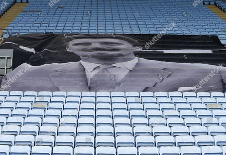 A memorial banner to the Jimmy Hill is in the stands during the Sky Bet League 1 match between Coventry City and Swindon Town played at the Ricoh Arena, Coventry on 25th February 2017