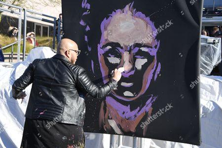 Artist David Garibaldi during the UTA Hosts United Voices Rally, held outside the UTA Headquarters