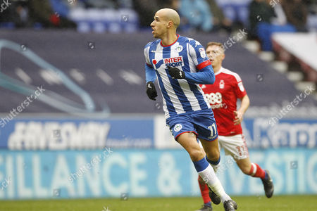 Wigan Athletic's Gabriel Obertan (11) during the EFL Sky Bet Championship match between Wigan Athletic and Nottingham Forest at the DW Stadium, Wigan