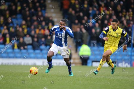 Chesterfield striker Sylvan Ebanks-Blake on the attack during the EFL Sky Bet League 1 match between Chesterfield and Oxford United at the Proact stadium, Chesterfield