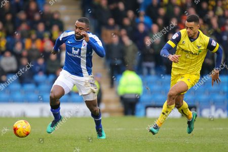 Stock Image of Chesterfield striker Sylvan Ebanks-Blake on the attack during the EFL Sky Bet League 1 match between Chesterfield and Oxford United at the Proact stadium, Chesterfield