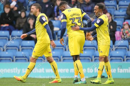 Celebrations as Oxford United striker Robert Hall scores the opening goal (0-1) during the EFL Sky Bet League 1 match between Chesterfield and Oxford United at the Proact stadium, Chesterfield