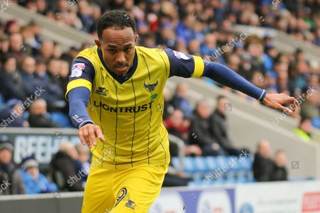 Oxford United striker Robert Hall advances forward during the EFL Sky Bet League 1 match between Chesterfield and Oxford United at the Proact stadium, Chesterfield