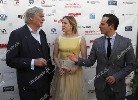 Stock Image of German actor Trystan Putter (R) , Dutch actress Hadewych Minis (C) and Austrian actor Peter Simonischek (L) from the Oscar-nominated movie 'Toni Erdmann' pose at the Oscar reception for German Oscar nominees at the Villa Aurora in Pacific Palisades, California, USA, 25 February 2017.The Academy Awards, also known as the Oscars, will take place in Hollywood on 26 February 2017.