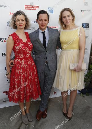 German actor Trystan Putter (R) , Dutch actress Hadewych Minis (C) and UK actress Lucy Russell (L) from the Oscar-nominated movie 'Toni Erdmann' pose at the Oscar reception for German Oscar nominees at the Villa Aurora in Pacific Palisades, California, USA, 25 February 2017. The Academy Awards, also known as the Oscars, will take place in Hollywood on 26 February 2017.