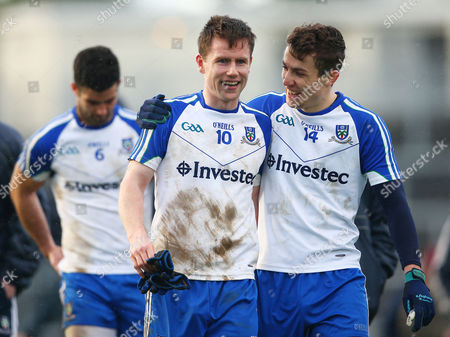 Stock Picture of Kerry vs Monaghan. Karl O?Connell and Thomas Kerr of Monaghan celebrate after the game