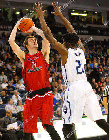 NCAA Basketball: Western Kentucky Hilltoppers forward Ben Lawson (14) looks to shoot over Old Dominion Monarchs forward Denzell Taylor (21) during the Western Kentucky Hilltoppers vs Old Dominion Monarchs game at Ted Constant Center in Norfolk, VA. Old Dominion beat Western Kentucky 67-53