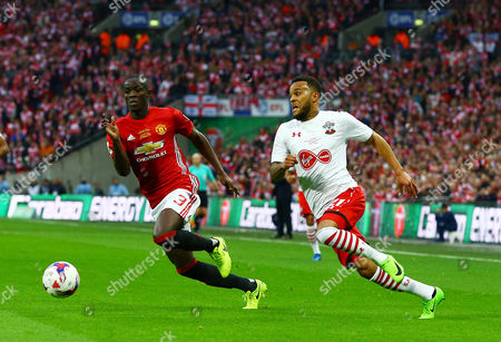 Stock Photo of Eric Bailly of Manchester United and Ryan Bertrand of Southampton during the EFL Cup Final match between Manchester United and Southampton played at Wembley Stadium, London on 26th February 2017