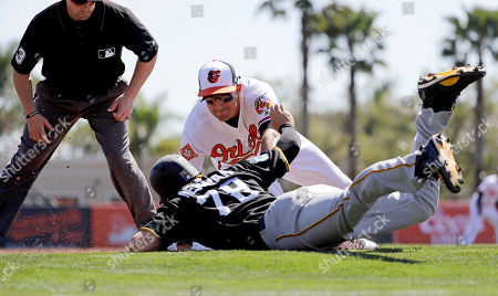 Stock Picture of Kevin Newman, Ryan Flaherty Pittsburgh Pirates' Kevin Newman, bottom, is out at third base on the tag by Baltimore Orioles' Ryan Flaherty on a single by the Pirates' Jason Rogers in the third inning of an exhibition spring training baseball game in Sarasota, Fla., . Baltimore won 8-3