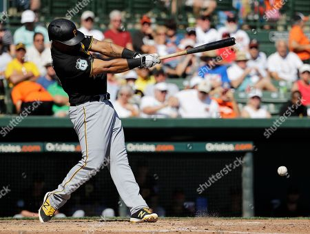 Stock Photo of Pittsburgh Pirates' Jose Osuna grounds out to score teammate Jason Rogers in the sixth inning of an exhibition spring training baseball game against the Baltimore Orioles in Sarasota, Fla., . Baltimore won 8-3