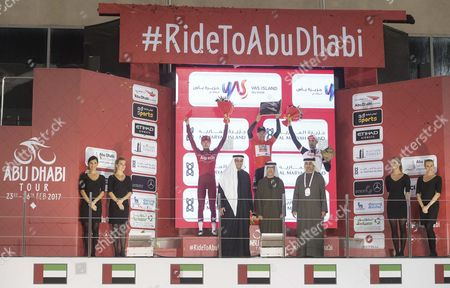 (L-R) Second place Russian rider Ilnur Zakarin of Team Katusha Alpecin, first place Portuguese rider Rui Costa of UAE Abu Dhabi and the third place Dutch rider Tom Dumoulin of Team Sunweb after the Yas Island stage of 143 km fourth stage of the Abu Dhabi Tour cycling race, 26 February 2017.