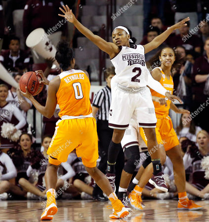 Morgan William, Jordan Reynolds Mississippi State guard Morgan William (2) attempts to block a shot by Tennessee guard Jordan Reynolds (0) in the first half of an NCAA college basketball game in Starkville, Miss