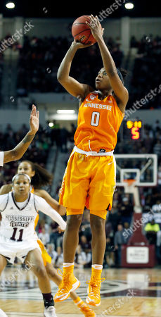 Tennessee guard Jordan Reynolds (0) shoots an uncontested shot against Mississippi State in the second half of an NCAA college basketball game in Starkville, Miss., . Tennessee won 82-64