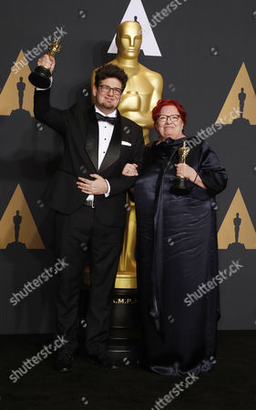 Kristof Deak (L) and Anna Udvardy, winners of the award for Best Live Action Short Film for 'Sing,' pose in the press room during the 89th annual Academy Awards ceremony at the Dolby Theatre in Hollywood, California, USA, 26 February 2017. The Oscars are presented for outstanding individual or collective efforts in 24 categories in filmmaking.
