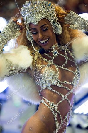 Drum queen Sabrina Sato from the Vila Isabel samba school performs during Carnival celebrations at the Sambadrome in Rio de Janeiro, Brazil