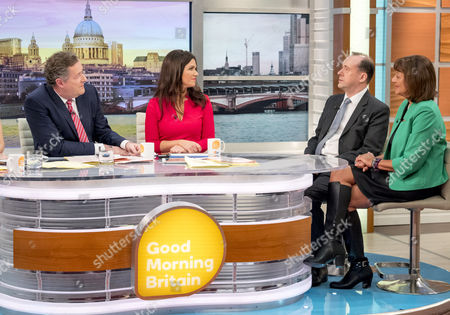 Stock Photo of Piers Morgan and Susanna Reid with Martin Callanan and Baroness Ros Altmann
