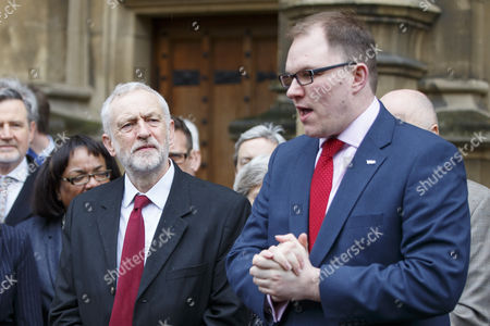 Labour leader Jeremy Corbyn and Labour MPs welcome Labour's Gareth Snell to the parliament, after his victory in Stoke-on-Trent Central by-election.